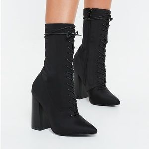 Lace up block heel booties
